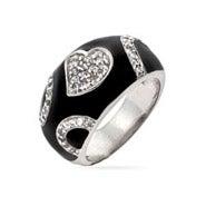 Designer Style Black Enamel CZ Heart Ring