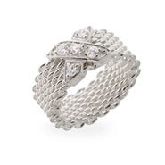 Designer Style Sterling Silver CZ X Mesh Ring