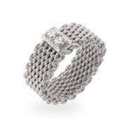 Designer Style Sterling Silver CZ Bar Mesh Ring