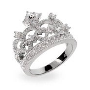 Dazzling Crown Tiara Sterling Silver & CZ Ring