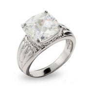 Celebrity Style Cushion Cut CZ Engagement Ring with Detailed Band