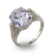 Brilliant Oval Cut Sparkling Lavender CZ Right Hand Ring