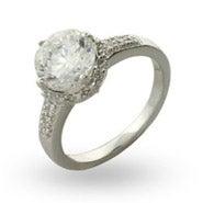 Brilliant Cut Crown Set CZ Engagement Ring