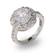 Replica Round Brilliant Cut CZ Engagement Ring