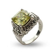 Peridot Cushion Cut CZ Ring