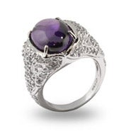Sparkling Pave CZ Smooth Oval Amethyst CZ Cocktail Ring