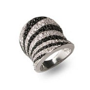 Designer Inspired Safari CZ Zebra Print Sterling Silver Ring