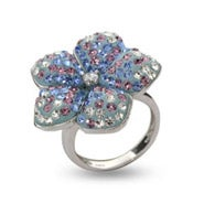 Dazzling Blue and Lavender Swarovski Crystal Flower Ring