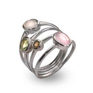 Designer Inspired Sterling Silver Pastel CZ Stackable Four Ring Set