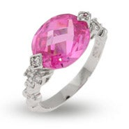 Vintage Style Pink Oval CZ Ring