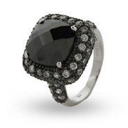 Cushion Cut Onyx CZ Cocktail Ring