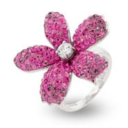 Pretty Pink Swarovski Crystal Flower Cocktail Ring