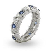 Designer Style Sapphire CZ Sixteen Stone Ring with Silver Xs