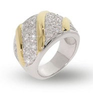 Designer Inspired Silver Sparkling  CZ Pave Gold Bar Ring