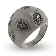 Sterling Silver Black CZ Paisley Satin Design Ring