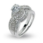 Sparkling Twisted Style Cz Engagement Ring Set