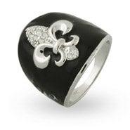Black Enamel CZ Fleur de Lis Ring
