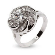 Sparkling Baguette Cut CZ Rose Ring