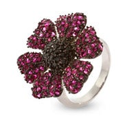 Sparkling Magenta Flower Sterling Silver CZ Cocktail Ring