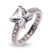 Dazzling Princess Cut CZ Sterling Silver Engagement Ring