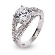 Deco Style Brilliant Cut CZ Sterling Silver Ring