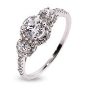 Petite Three Stone Sparkling Past, Present, Future Ring