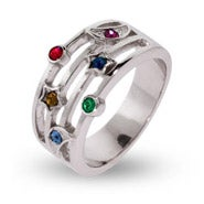 6 Stone Moon and Stars Custom Birthstone Ring