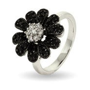Sparkling Black CZ Daisy Ring