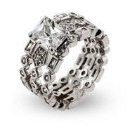 Designer Style Three Band Emerald Cut Engagement Ring Set