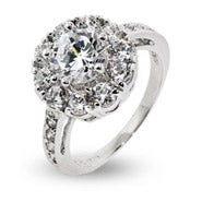 Brilliant Cut CZ Sterling Silver Flower Ring