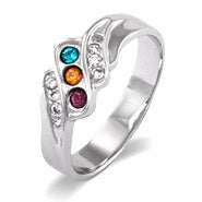 Three Stone Swarovski Crystal Wave Design Mothers Ring