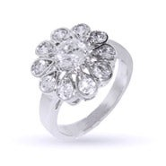 Dazzling CZ Daisy Flower Ring