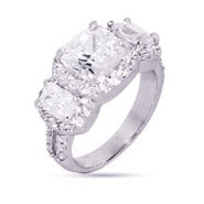 Cushion Cut Past Present Future CZ Engagement Ring