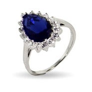 Royalty Inspired Pear Cut Sapphire CZ Engagement