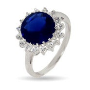 Royalty Inspired Round Sapphire CZ Engagement Ring