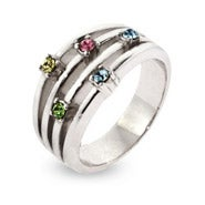 5 Stone Sterling Silver Banded Custom Birthstone Ring