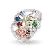 Black Hills Gold On Sterling Silver 5 Stone Ladies Genuine Birthstone Ring