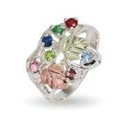 Black Hills Gold On Sterling Silver 7 Stone Ladies Genuine Birthstone Ring