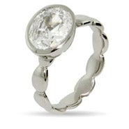 Oval Bezel CZ Stackable Ring
