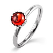 Garnet CZ Silver Stackable Ring