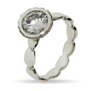 Round Brillant Cut Vintage CZ Stackable Ring