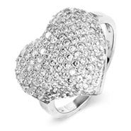 Sparkling Micro-Pave CZ Sterling Silver Heart Ring