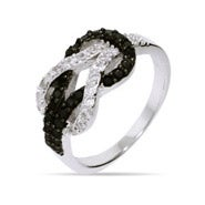 Black and White CZ Sterling Silver Infinity Knot Ring