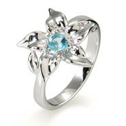Custom Silver Birthstone Flower Ring