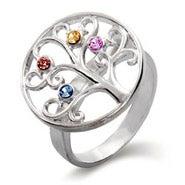 4 Stone Sterling Silver Custom Birthstone Family Tree Ring
