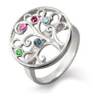 5 Stone Sterling Silver Custom Birthstone Family Tree Ring