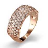 Dazzling Five Row CZ Rose Gold Vermeil Ring