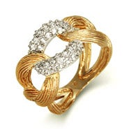 Designer Style Gold Vermeil Cuban Link Ring