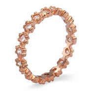 Rose Gold Ring of Diamond CZs Stackable Ring