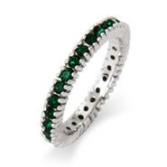 Sparkling May Emerald Birthstone Stackable Ring